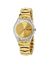 SWATCH MEN'S 39.2MM GOLD-TONE STEEL BRACELET PLASTIC CASE QUARTZ WATCH GE708A