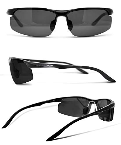 75e1262bc8 COSVER Men s Polarized Sports Sunglasses for Men Driving Cycling Running  Fishing Golf Unbreakable Frame Metal Glasses