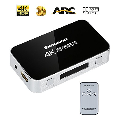 Excelvan Upgraded 4×1 HDMI Switch with Remote, 4 Port Selector Stereo Splitter Box with PIP Auto Switch On/Off and AC Power Adapter Supports 4K, Full HD1080p, 3D (Silver)
