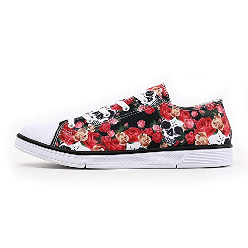FIRST DANCE Women Men Skull Printed Shoes Cool Paisley Print Fashion Sneakers for Teen Boys Girls Student Canvas Shoes for Ladies 10US W
