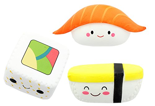Sushi Foam Squishy Toys Set of 3: Salmon Nigiri, Tamago Egg and Maki (Salmon Egg Sushi)