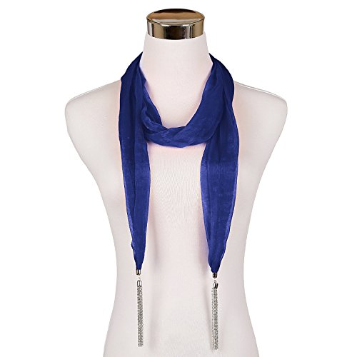 Blue Silk Long Scarf - 3