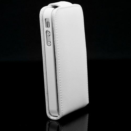 XAiOX hochwertige Apple iPhone 4 4s Vertikal Flip Tasche Handyhülle Handytasche in weiss