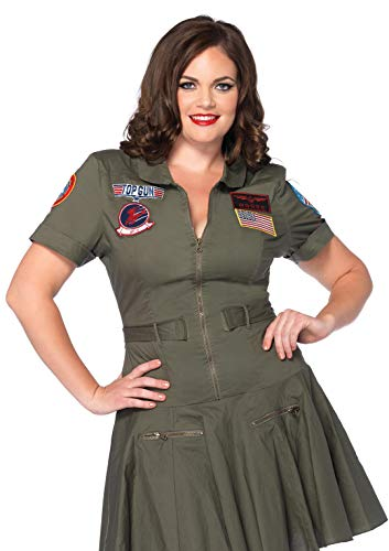 Leg Avenue Women's Size Plus Licensed Top Gun Flight Dress Costume, Green, 1X / 2X