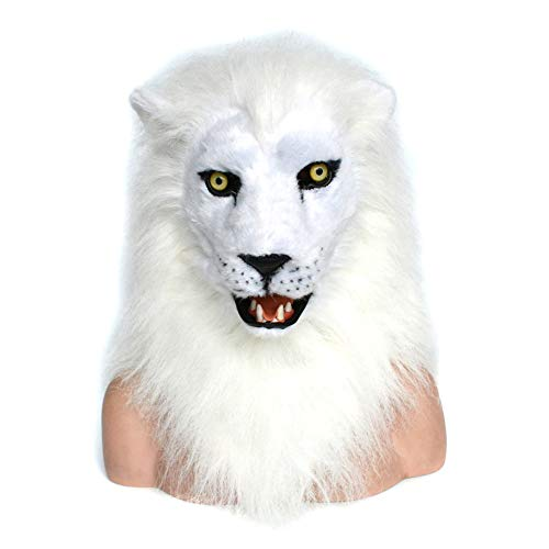 XIANGBAO-Toys White Lion Moving Mouth Mask with Fur Decorated for Halloween and Party Fun Mouth Mover Mask Moving Jaw Mask Animal Mask Toys&Gams (Color : White, Size : 2525)