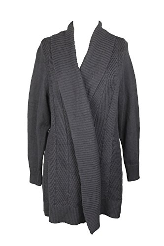 Charter Club Womens Plus Ribbed Trim Open Front Cardigan Sweater Black 1X Trim Open Cardigan