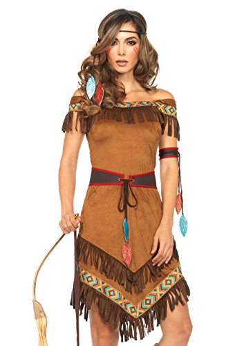 Pocahontas Halloween Costumes Women (Leg Avenue Women's 4 Piece Native Princess Costume, Brown, Small/Medium)