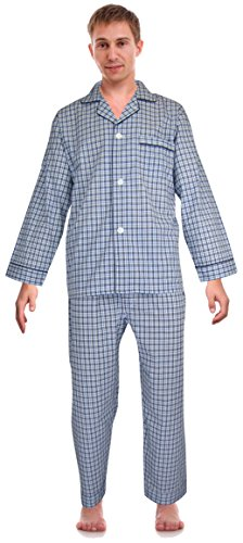 RK Classical Sleepwear Mens Broadcloth Woven Pajama Set, Size X-Large, Blue, (0153) -