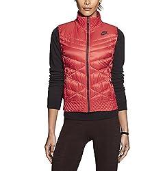 Nike Women's Cascade Down Vest (X-Small, Action Red/Deep Burgundy/Deep Burgundy)