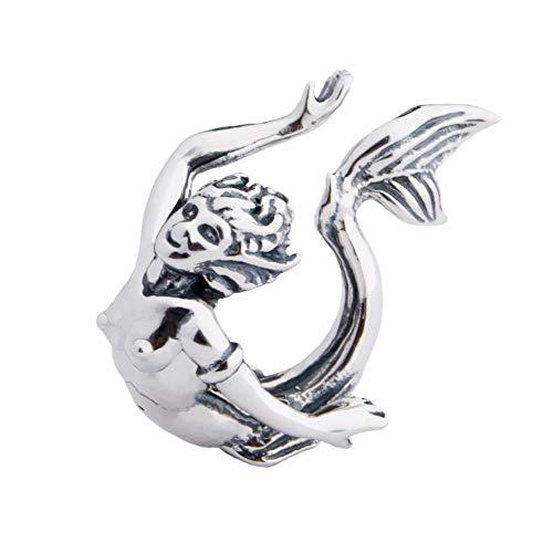 (Sailor's Dream - Mermaid Sterling Silver Charm Pendant S925, Little Mermaid Fantasy Creature Silver Charm Pendant, Pandora compatible Charm Jewellery)