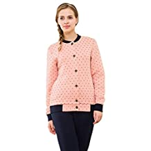 Chickle Women's Collarless Dot Winter Cotton Sleepwear Matching Couple Pajamas Set