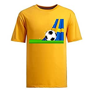 Custom Mens Cotton Short Sleeve Round Neck T-shirt,2014 Brazil FIFA World Cup Soccer Sweden yellow
