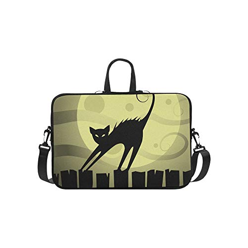 Cat On The Roof at Night Moon Pattern Briefcase Laptop Bag Messenger Shoulder Work Bag Crossbody Handbag for Business Travelling -