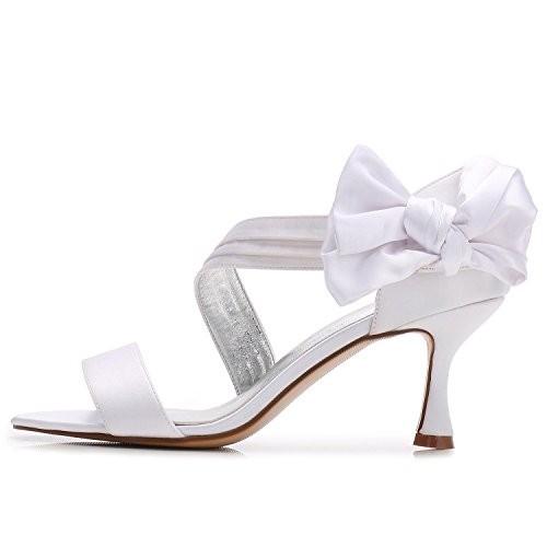 L Butterfly Bridal YC 50 Open Elastic Pump Wedding Medium Shoes Basic R17061 Women's White Toe Shoes fqR7wfr