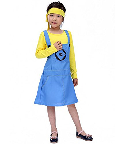 Aifang Halloween Child Girls Kids Costume Minion Despicable Me Cartoon Costume Cosplay Clothes Outfit Apparel Dress for Girls M (Agnes Costume Toddler)