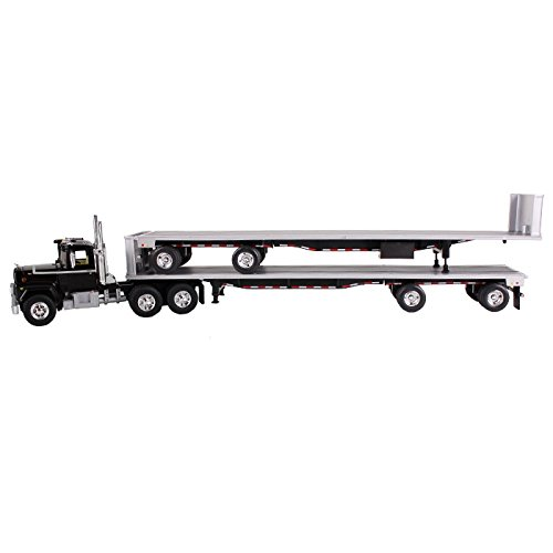 Mack R Truck Black With two 48ft Flatbed Trailers Stacked 1/64 by First Gear 60-0291