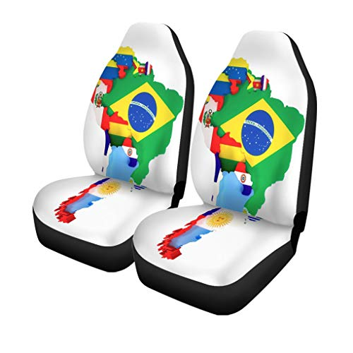 Pinbeam Car Seat Covers Colorful Latin South America Map Countries and Capital Cities Set of 2 Auto Accessories Protectors Car Decor Universal Fit for Car Truck SUV (Map Of Central American Countries And Their Capitals)
