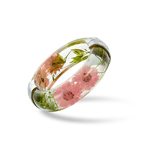 Hinged DIY Handmade Dry Pressed Flower Resin Bracelet Botanical Garden Transparent Bangle Bracelet (Pink) (Resin Transparent Bracelets)