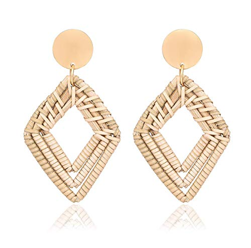 - Mooinn Rattan Earrings Handmade Weave Straw Hoop Dangle Earrings Braided Wicker Drop Earrings for Women Girls