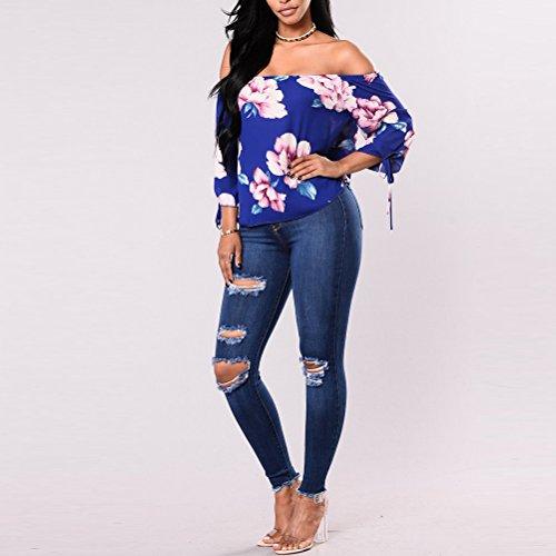 Zhhlinyuan pour Mode Stretch Style Femme pas Dtruit Jeans Boyfriend Trou 3 Blue Pantalon Cher Lavage Denim Un Maigre Up Push 77rq4