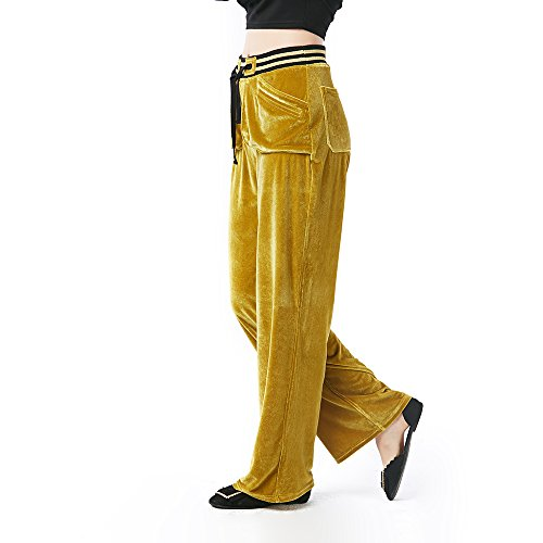Beauty Garden Casual Loose Solid Long Pants Olive Green Elastic Waist Velour Fashion Female Pants by Beauty Garden (Image #2)