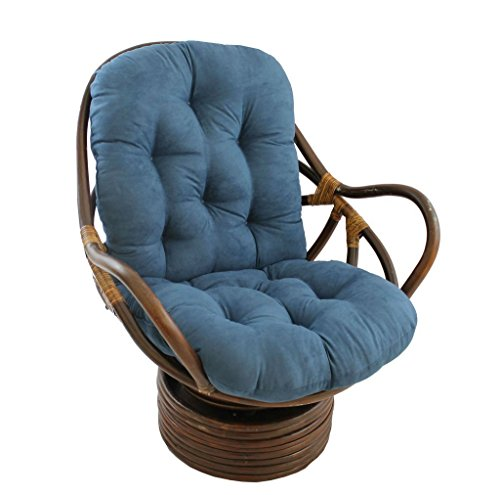 Micro Suede Rocker - International Caravan 3310-MS-IN-IC Furniture Piece Rattan Swivel Rocker with Micro Suede Cushion