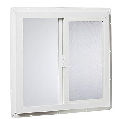 Park Ridge VUS2424PR Vinyl Utility Slider Single Glass Window 24 Inch x 24 Inch, White