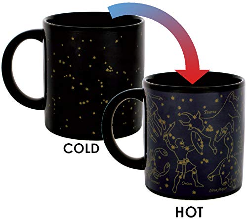 (Heat Changing Constellation Mug - New Gold Stars - Add Coffee or Tea and 11 Constellations Appear - Comes in a Fun Gift Box)
