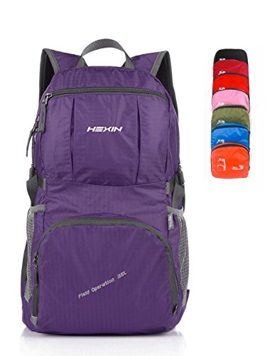 HEXIN Men Lightweight Packable Purple Waterproof Backpacks 35L Carry-on Mini Bakcpacks