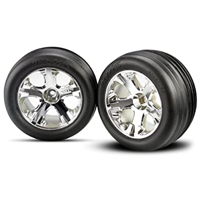 "Traxxas 3771 Front Alias Ribbed Tires Pre-Glued on 2.8"" Chrome All-Star Wheels (pair): Toys & Games"