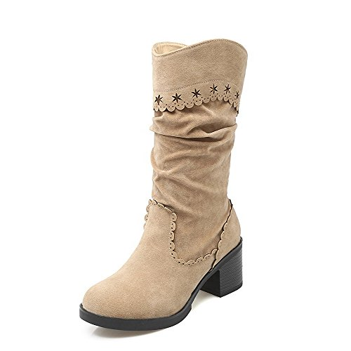 AgooLar Boots Frosted Women's On Heels Beige Solid Pull Top Low Kitten ROBaxR