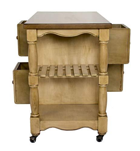 Sunset Trading Brook 4 Drawer Kitchen Cart, Wheat/Pecan