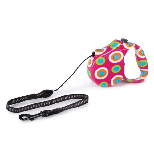 Guardian Gear ABS Shell Nylon Boardwalk Retractable Dog Lead, Mod Dot