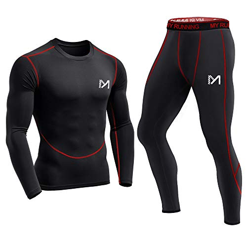 - Men's Base Layer, Cool Dry Long Sleeve Compression Set, Sport Long Johns Gym Fitness Running Underwear Red