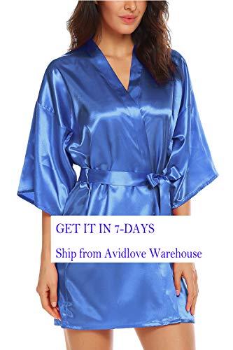 Avidlove Women 's Kimono Robe Satin Lounge Short Style, Style2 Royal Blue Large