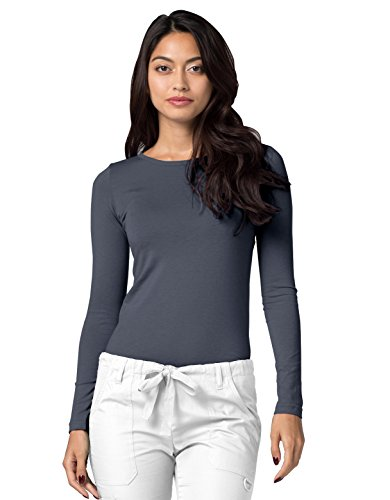 ADAR UNIFORMS Adar Womens Comfort Long Sleeve T-Shirt Underscrub Tee - 2900 - Pewter - S by ADAR UNIFORMS (Image #3)