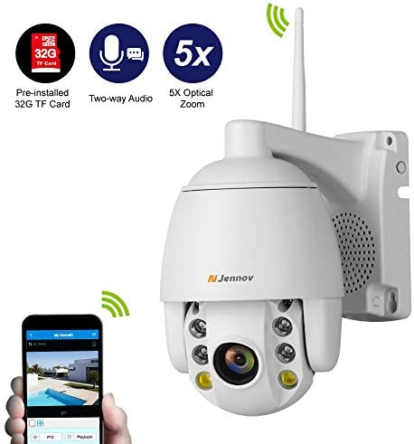 Jennov IP Dome Kamera Wlan, 1080P PTZ Überwachungskamera Aussen Kabellos mit 32G SD Karte 360° 5X Optische Zoom Videoüberwachung Wasserdicht Outdoor Farbe Nachtsicht Zwei-Wege-Audio Bewegungserkennung