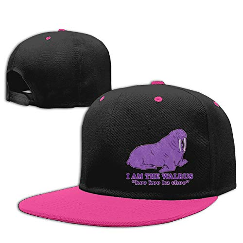 Sakanpo I Am The Walrus Flat Visor Baseball Cap, Cool Snapback Hat Pink