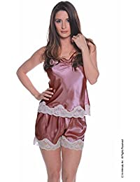 Women's Charmeuse Camisole Tap Pant Set #7078/x (S-3x) (Rose)