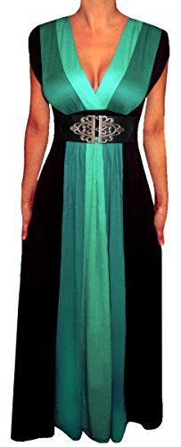 Funfash HH09 Plus Size Women Black Slimming Empire Waist Block Maxi Long Dress