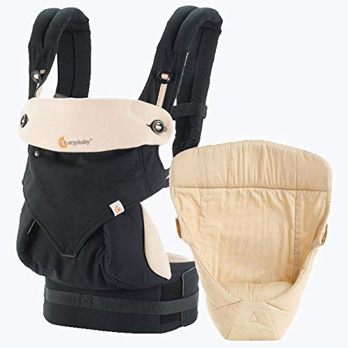 Ergobaby Bundle - 2 Items: Black|Camel All Carry Position Award Winning 360 Baby Carrier and Easy Snug Infant Insert, Natural