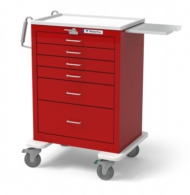 MSEC by Waterloo, QUICK SHIP PROGRAM, 6 Drawer Tall Steel Emergency Cart, Red