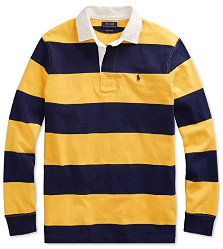 (Ralph Lauren Polo Men's The Iconic Rugby Classic Fit Shirt (Gold Bugle/Newport Navy,)