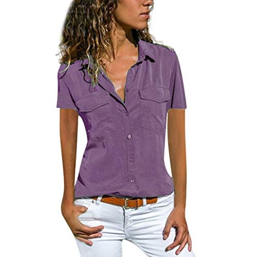 TUSANG Women Tees Casual Solid Short Sleeve Turn Down Collar Pockets Buttons Down Shirt Tops Slim Fit Comfy Tunic(Purple,US-16/CN-4XL)