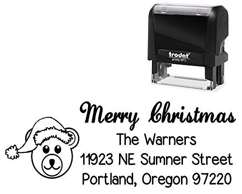 Original Self-Inking Return Mail Address Christmas Stamp. with Teddy Bear Face with Santa Hat Image - Large Stamper with Variety of Designs and Ink Color.