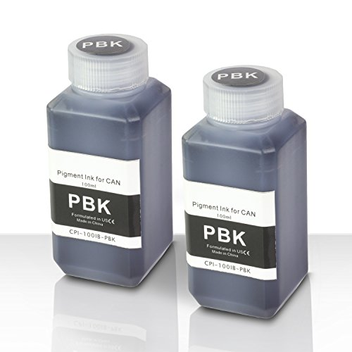 (SOJIINK 2 PK - Canon Compatible Photo Black Pigment Refill Ink Bottle 100ML (3.38 fl oz) Bottle + Refill Tool Kit)