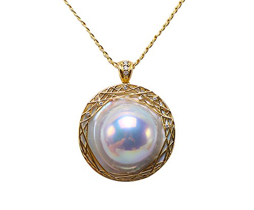 Mabe Pearl Necklace Pendant - JYX 18K Super-size 35mm White Mabe Pearl Pendant Necklace