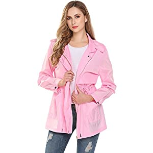 Zeagoo Women Waterproof Lightweight Rain Jacket Anorak Active Outdoor Hoodie Coats Pink S