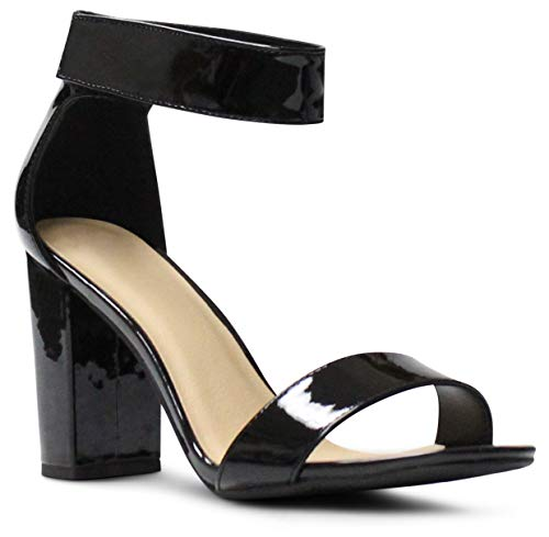 (Women's Open Toe Ankle Strap Chunky Block Stacked Heels Dress Sandals - (Black Patent) - 6.5)