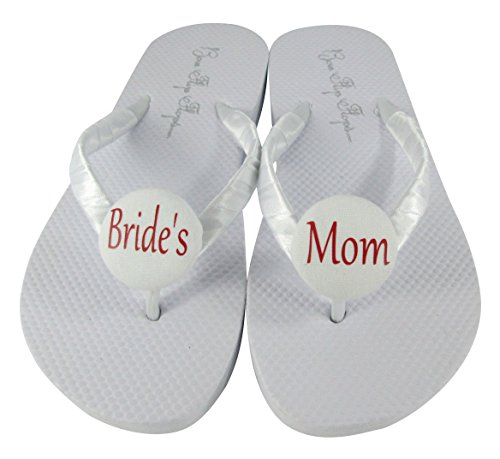 f9f5e411c1f3f Amazon.com  Bride s Mom or Bridal Party Flip Flops  White flat with red or  any color ribbon  Handmade